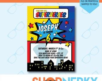 Personalized Printable Superhero Birthday Invitation | Red and Blue