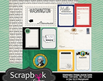 Washington Journal Cards. Seattle. Digital Scrapbooking. Project Life. Instant Download.
