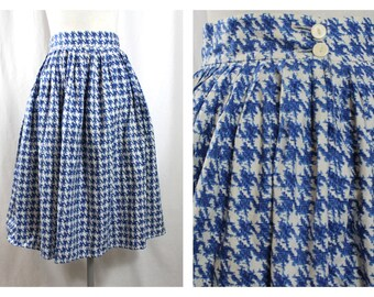 1950'S Mid century High Waisted Blue & white Cotton Skirt