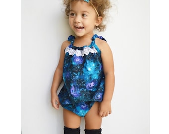 Across The Universe Romper OR Skirt, Baby Toddler Rompers, Sunsuit, Christmas Gift, Girls Skirts, Bow, Boho, Headwrap, Stars, Lace, Space