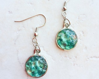 Turquoise Sea Glass Earrings, Aquamarine Blue Seaglass Jewelry