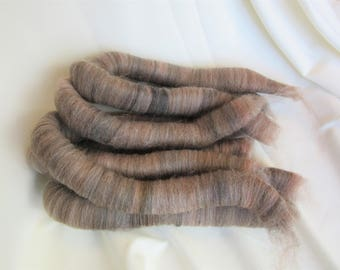 2.4 oz Handcrafted Alpaca Rolags - All Natural Light Rose Grey blended w/BFL Wool