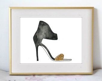 Gianvito Rossi High Heels, Fashion Illustration Watercolor Painting Print  --  black and gold Home/office decor and wall art, Fashion prints