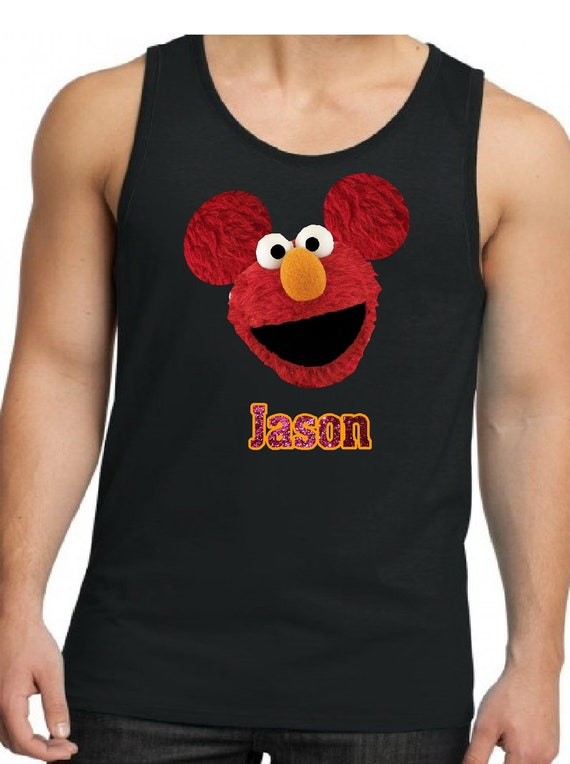 6c3e3419b76d8 Personalized Elmo with Mickey Mouse ears Tank Men s Tank