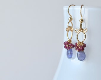 Lana - Tanzanite, Garnet 14k Gold Filled Earrings || Tanzanite Dangles || Garnet Dangles || December Birthstone Earrings || January Birthday
