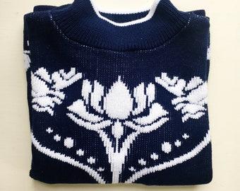 Vintage 70s Lotus Mock Turtleneck Sweater