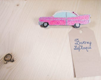 The Pink Cadillac glittered wooden brooch