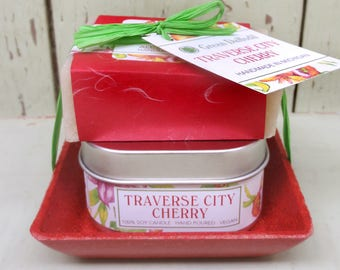Traverse City Cherry Candle & Soap Dish Kit-  Green Daffodil