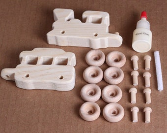 Handcrafted Mini Wooden 2 Piece Train Kit 209K