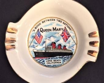 Ashtray - Queen Mary, Long Beach, CA vintage souvenir