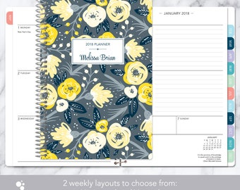 weekly planner 2018 & 2019 calendar | add monthly tabs custom student planner | personalized planner agenda | yellow grey floral pattern