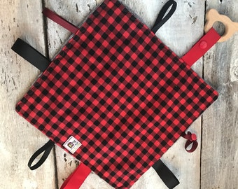 baby 'Rikiki' blanket, red and black checkers, grey or black minky