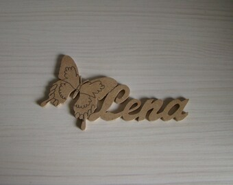 Butterfly door plaque with names of mdf wood