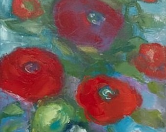 "Original painting ""Red & Orange Poppies"""