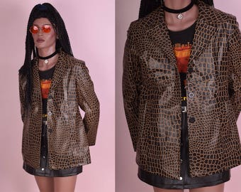 90s Croc Print Vinyl Jacket/ Medium/ 1990s/ Coat