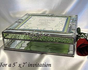 "Stained Glass  Wedding Invitation Keepsake Box in stained glass for a 5"" x 7"" invitation"