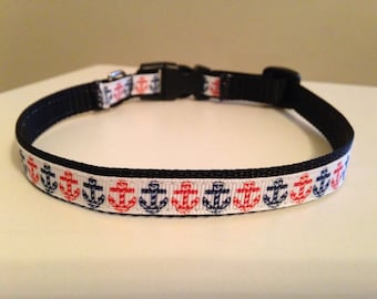 Red and Blue Anchors 1/2 inch Small Dog Collar