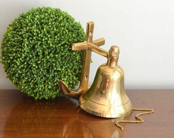 Vintage Brass Dinner Bell Door Knocker Anchor Captain Ship Bell Coastal Nautical Door Decor