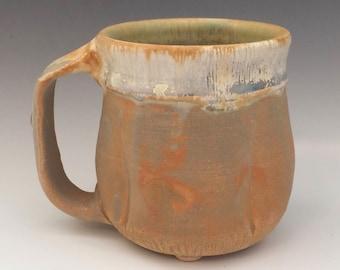 Rustic Mug, Handmade Stoneware Mug, Yellow Golden Coffee Mug