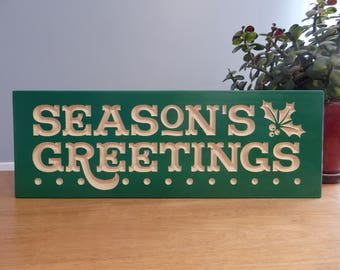 Seasons Greetings Holiday Wooden Painted Green Carved Sign