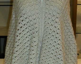 Hand Crocheted Beautiful Zipped Shawl Poncho