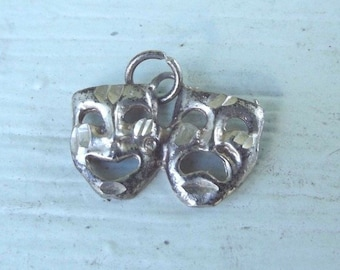 Vintage Sterling Silver Theater Mask Charm Pendant Comedy Tragedy Theatre Estate