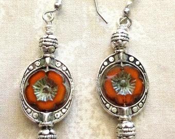 Silver earrings with brown Czech beads, silver dangle earrings