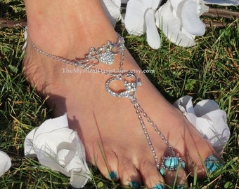 Sale Foot jewelry beach wedding swarovski rhinestone barefoot sandals, wedding sandals, CRYSTAL HEART, butterfly slave anklets beach shoes