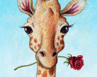 Gerard the Romantic Giraffe - Art Print