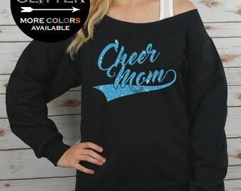 Cheer Mom Off Shoulder Raw Edge Sweatshirt for Women GLITTER // Coach Sweatshirt, Cheer Shirt, Cheerleader, Plus Sizes (Aqua Glitter)