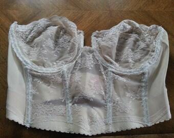 SALE Vintage BackTalk Beige Bustier Bra Brassiere Under Wire Size 38 C Lace Strapless Ladies 1960s