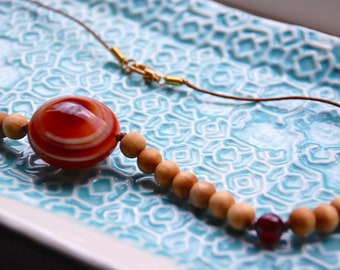 Fire on Earth Sandalwood & Carnelian Necklace