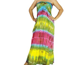 Smocked  tube, tie dye off shoulder,  tie dye cotton dress  boho  dress maxi summer sundress comfy beach casual dress long skirt (416)