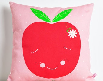 decorative throw pillow for kids room with apple in red and pink - 12 inch / 30 cm