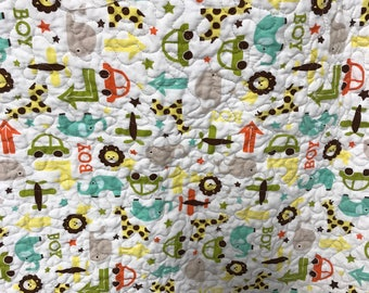 Baby Boy Quilt, handmade quilt, wholecloth quilt, elephants, lions, whales, boy