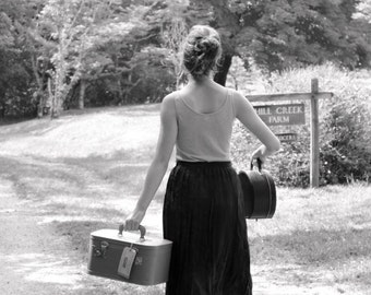 Black and White Photography - Vintage Suitcase Girl Print - Homecoming Portrait - Traveller Photograph - 8x12