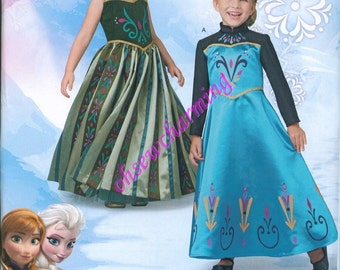 Simplicity 1222 Frozen Costume Sewing Pattern Elsa Anna Girls Sizes 3-4-5-6-7-8