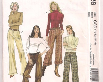 McCalls 4926 Straight Legged Cuffed Pants straight hem gaucho pants sewing pattern Size CCD 10 12 14 16 Waist 25 - 30 Hips 34.5 - 40 Uncut