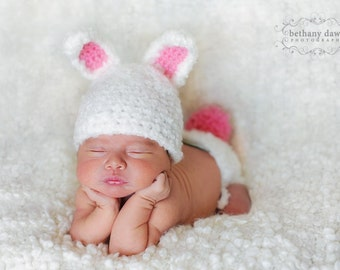 Bunny Hat Pattern, Crochet Diaper Cover Pattern, Newborn Hat Pattern, Baby Hat Pattern, Newborn - 3 Months, Snassy Crafter Original