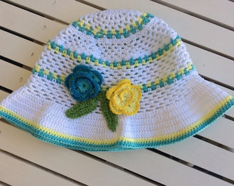 Baby summer hat...baby crochet hat...hat with flowers