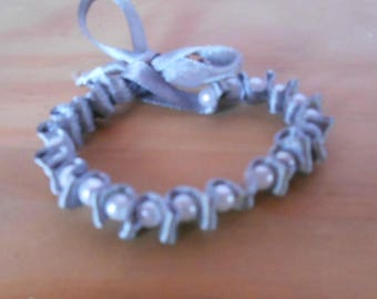 Gray satin ribbon wedding bracelet