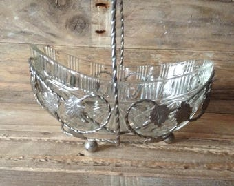 Sugar Bowl/Sweet Dish, Glass, Metal, Display, Scroll and Leaf Detail,