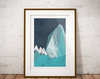 Geometric Mountain Abstract Giclee Art Print Gift Poster, Contemporary Art Print