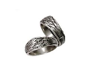 Wheat Sheaf Wedding Ring Set in Sterling Silver