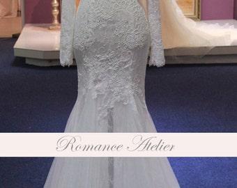 Elegant, Wedding Gown, Long Sleeve, Lace, Chantilly Lace, Bridal Gown, Mermaid, white, ivory, weddings, blush, elegant