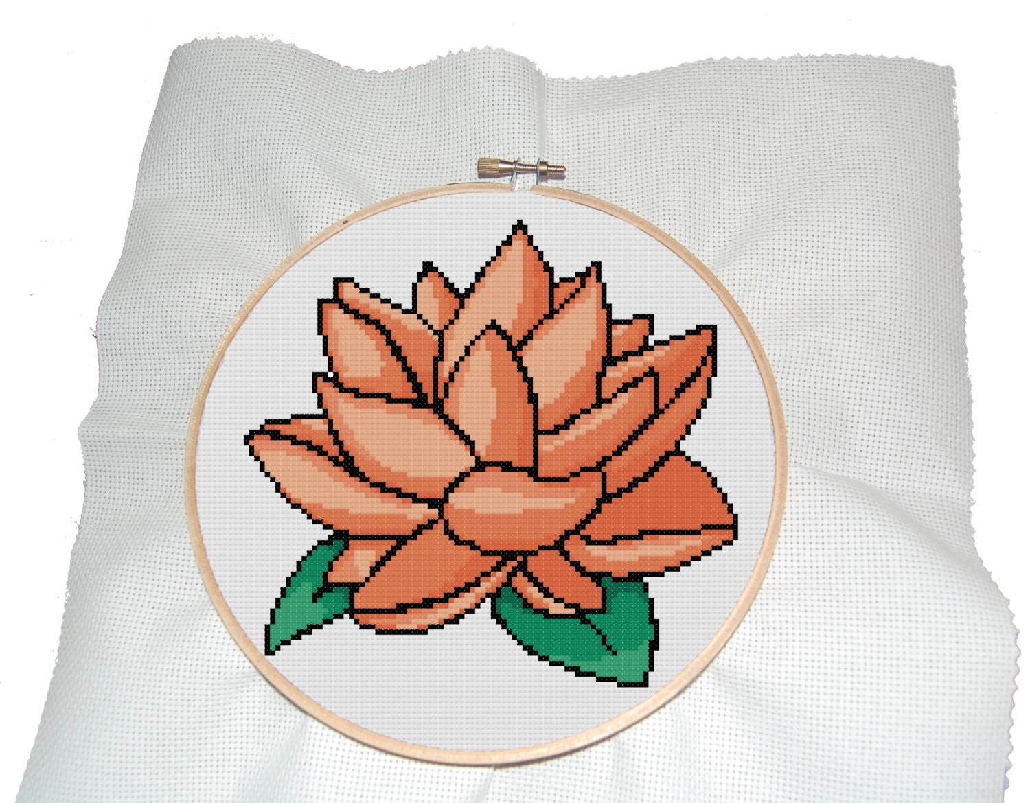 Modern cross stitch pattern of orange lotus flower pdf zoom izmirmasajfo