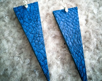 Fish leather earrings