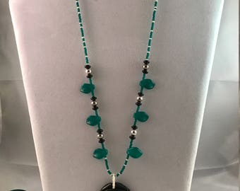 Black and Teal Rose Necklace