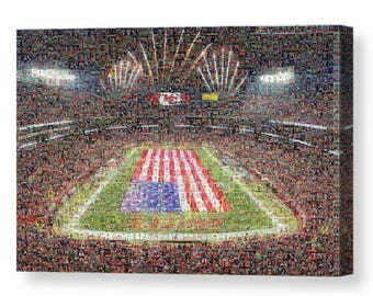Unique Kansas City Chiefs Mosaic Art Print of Arrowhead Stadium with Over 290 Player Trading Card Images (1963 - Present).