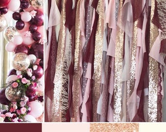 Burgundy, Blush Pink & Rose Gold Sparkle Sequin Fabric Backdrop with Lace - Wedding Garland, Photo Prop, Curtain, Baby Shower